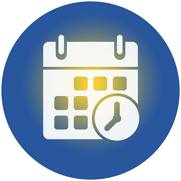 Calendar icon in a circle that fades from blue to gold