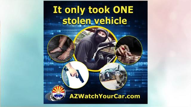 "Sonoran Living Preview of an AATA Ad- ""It only took One stolen vehicle - feature a thieve with feet bound by handcuffs, drugs, guns, and vehicle accident."